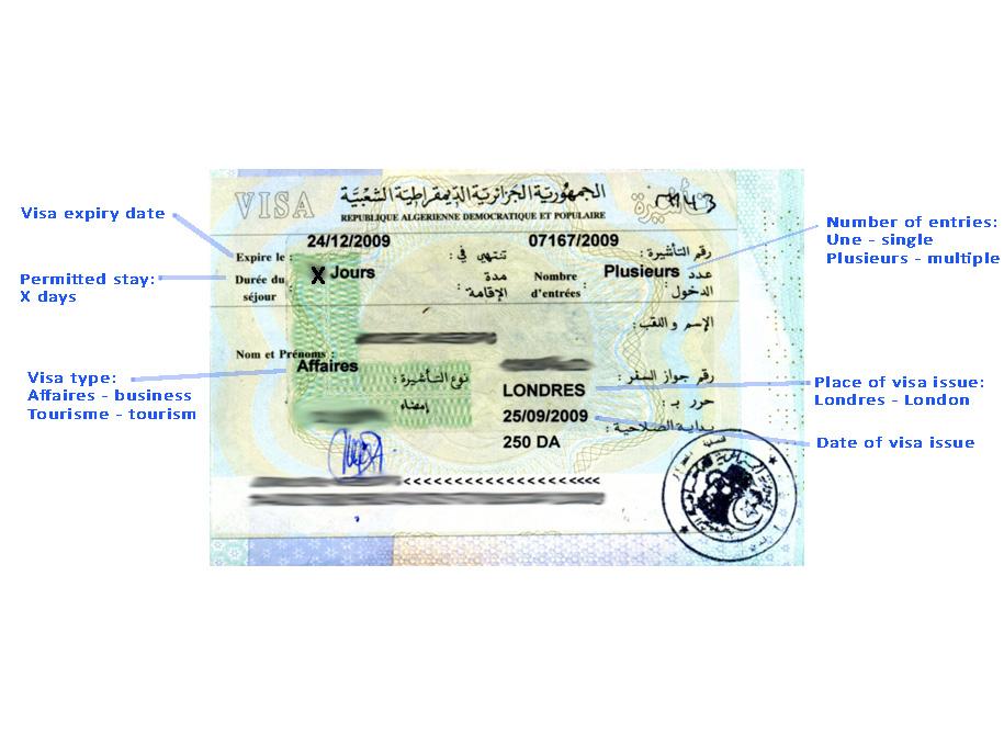 Reading Your Algerian Visa Anyvisa